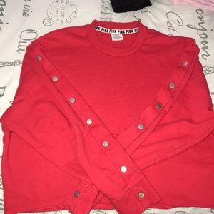 PINK Victoria Secret: Red Cropped Sweater